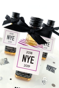 New Years Eve Party Mini Bottle Party Favor Tags - Invited Too