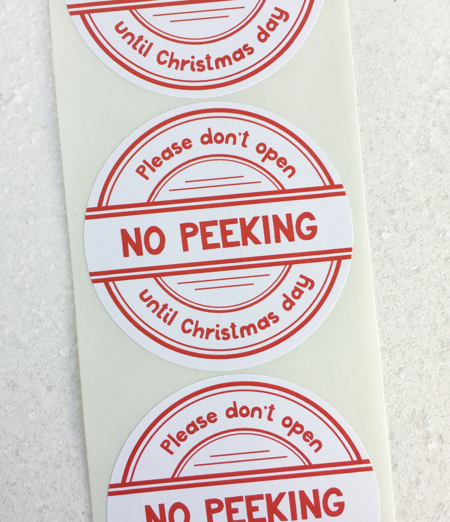 Until Christmas.No Peeking Until Christmas Day Stickers