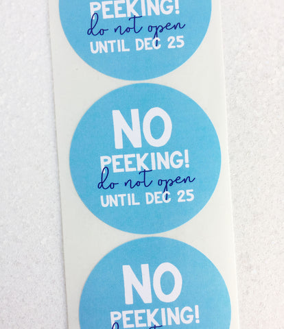 No Peeking Christmas Gift Label Sticker - Invited Too