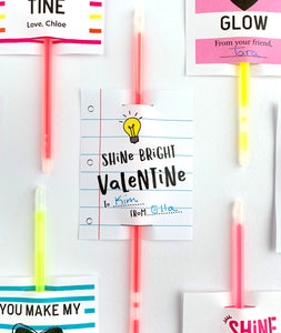 Shine Bright Children's Printable Valentine Tags for Glow Sticks - Invited Too
