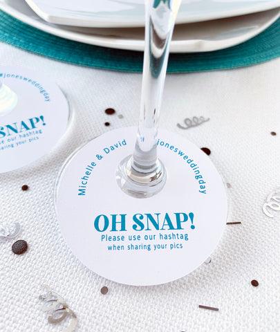 Oh Snap Wedding Hashtags Wine Glass Tags - Invited Too