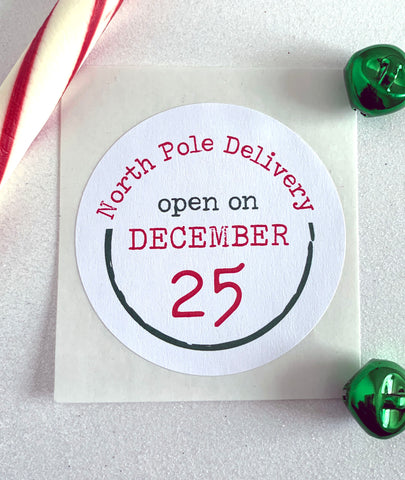 North Pole Delivery Open on December 25 Christmas Sticker - Invited Too