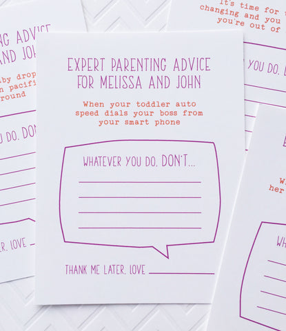 Baby Shower Advice Cards Game - Invited Too