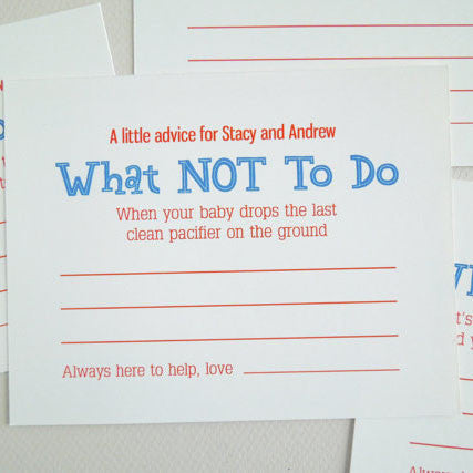 Funny Baby Shower Advice Cards - Invited Too