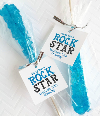 Party Like A Rock Star Rock Candy Tags, Rock Climbing Party Favor Tags