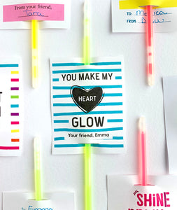 Personalized You Make My Heart Glow Printable Valentines for Glow Sticks - Invited Too