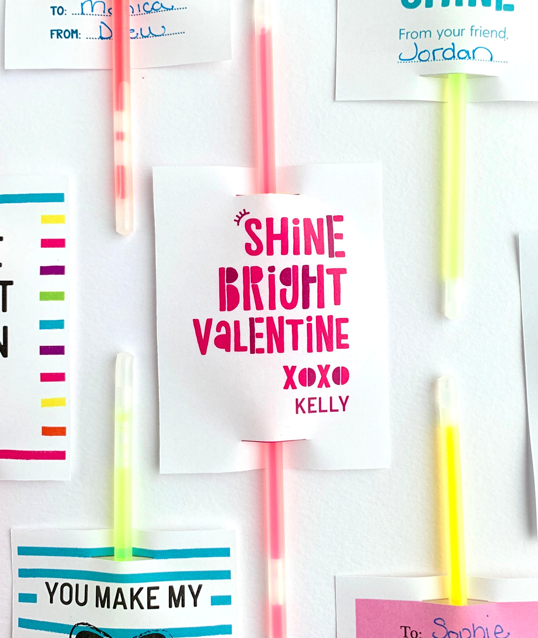 Personalized Shine Bright Valentine Printable Valentines for Glow Sticks - Invited Too