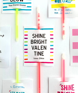 Shine Bright Valentine Glow Stick Printable Valentines - Invited Too
