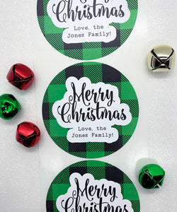 Merry Christmas Stickers Plaid Gift Label - Invited Too