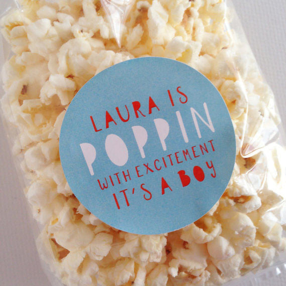 Poppin With Excitement Baby Shower Labels - Invited Too