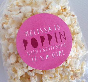 Poppin with excitement baby shower labels