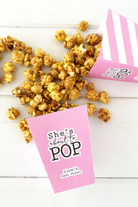 About to Pop Baby Shower Popcorn Boxes - Invited Too