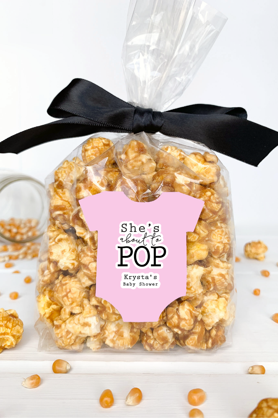 She's About to Pop Popcorn Favor Labels - Invited Too