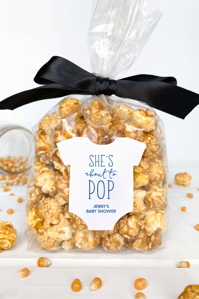 Shes About to Pop Popcorn Favor Labels - Invited Too