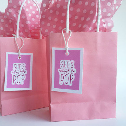 Shes About To Pop Baby Shower Favor Tags - Invited Too