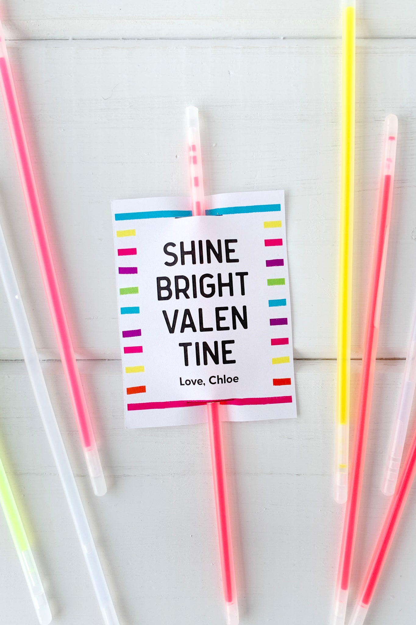 Shine Bright Valentines Glow Stick Printable - Invited Too