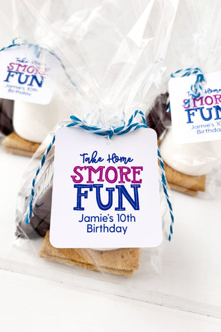 Take Home Smore Fun Birthday Party Tags - Invited Too
