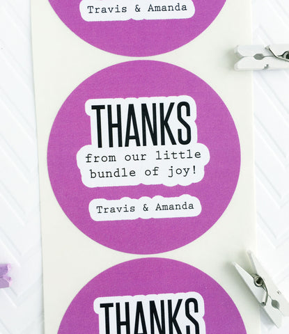 Couples Baby Shower Thank You Labels