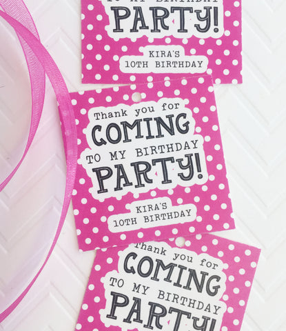 Polka Dot Birthday Party Favor Tag - Invited Too