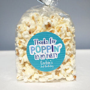 Thanks For Popping By Popcorn Party Favors Personalized Birthday Stickers - Invited Too