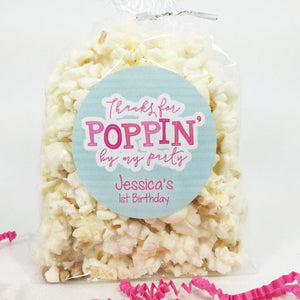 Thanks For Poppin By My Party Popcorn Favor Stickers - Invited Too