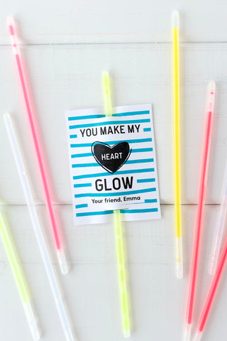 Valentines Day Glow Sticks Printable - Invited Too