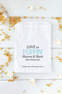 Engagement Party Popcorn Bar Bags Love is Poppin - Invited Too