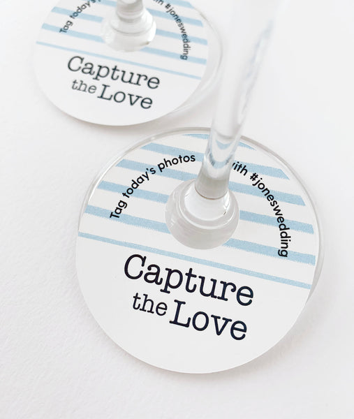 Capture The Love Wedding Hashtags Wine Glass Tags - Invited Too