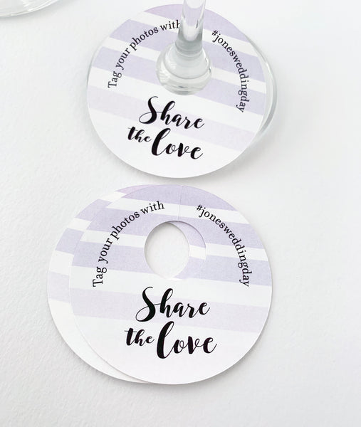 Share The Love Wedding Hashtags Wine Glass Tags - Invited Too