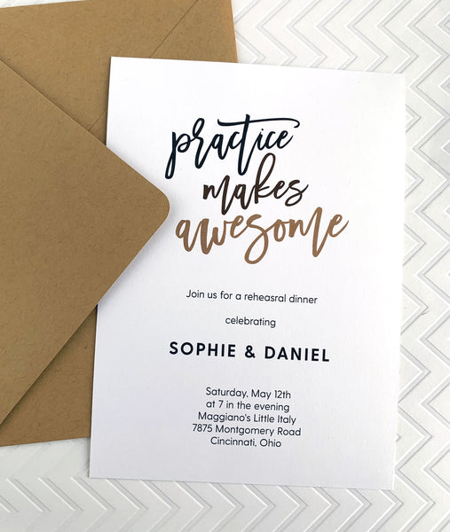 Practice Makes Awesome Rehearsal Dinner Invitation - Invited Too