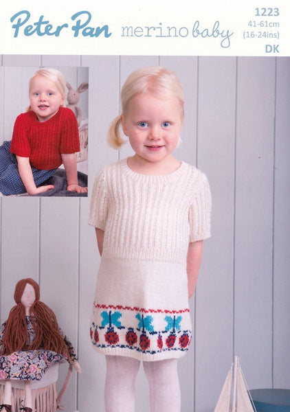 Dress and Sweater in Peter Pan Merino Baby DK (P1223)-Deramores