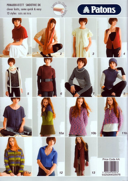 13 Styles in Patons Smoothie DK (1277)