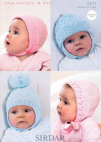 Baby's Bonnets and Helmets in Sirdar Snuggly 4 Ply (1371)-Deramores