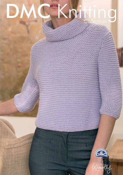 Roll Neck Jumper in DMC Woolly (15132L/2)