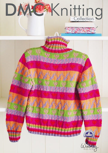 Colourful Jumper in DMC Woolly (15201L/2)-Deramores