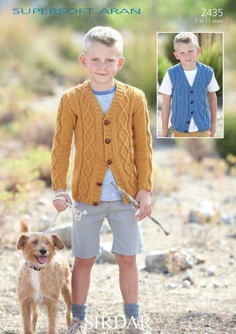 Boys V Neck Cardigan and Waistcoat in Sirdar Supersoft Aran (2435)-Deramores
