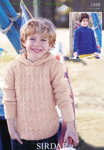 Boy's Hooded and S.U.N Sweaters in Sirdar Supersoft Aran (2448)-Deramores