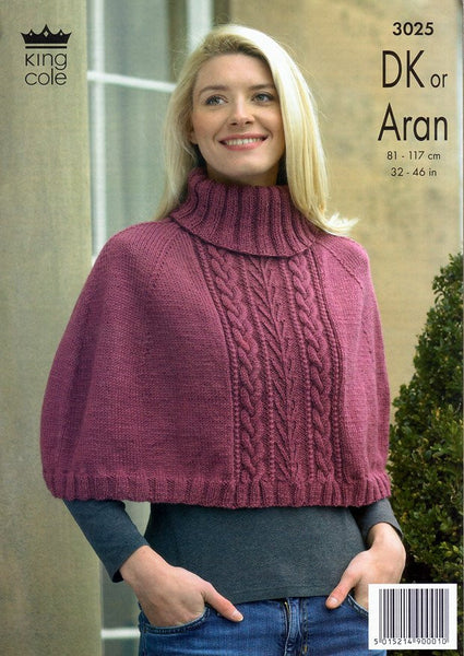 Capes in King Cole Merino Blend DK and King Cole Fashion Aran (3025)-Deramores
