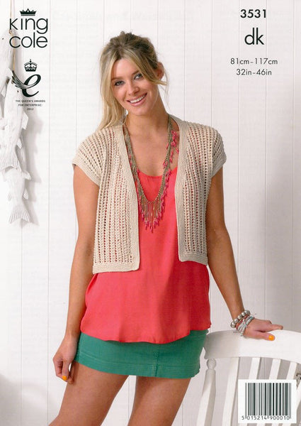 Cardigan and Waistcoat in King Cole Bamboo Cotton DK (3531)-Deramores