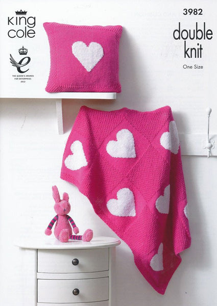 Blanket and Cushion in King Cole Comfort DK (3982)-Deramores
