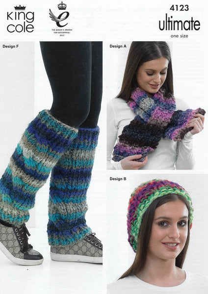 Neck Wrap, Hat, Scarf, Cowl, Cabled Shoulder Wrap and Leg Warmers in King Cole Ultimate Super Chunky (4123)