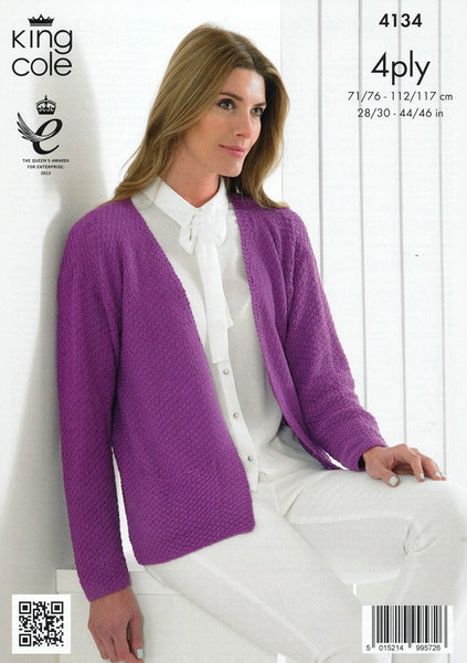 Ladies Edge to Edge Jacket and Sweater in King Cole Bamboo 4 Ply (4134)-Deramores