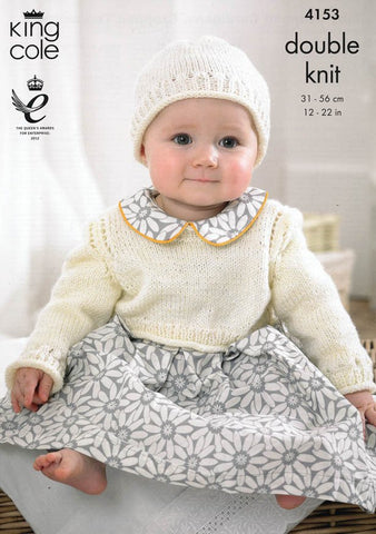 Baby Cropped Cardigans, Cropped Top and Hat in King Cole Baby DK (4153)-Deramores