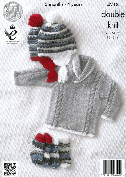 Jackets, Sweater, Hat and Socks in King Cole DK (4213)