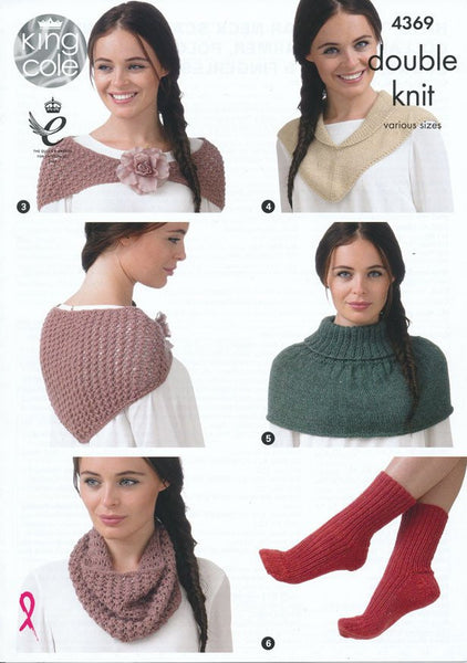 Hats, Triangular Neck Scarf, Shawl Collar Neck Warmer, Polo Neck Warmer, Socks, Gloves and Fingerless Gloves in King Cole Baby Alpaca DK (4369)