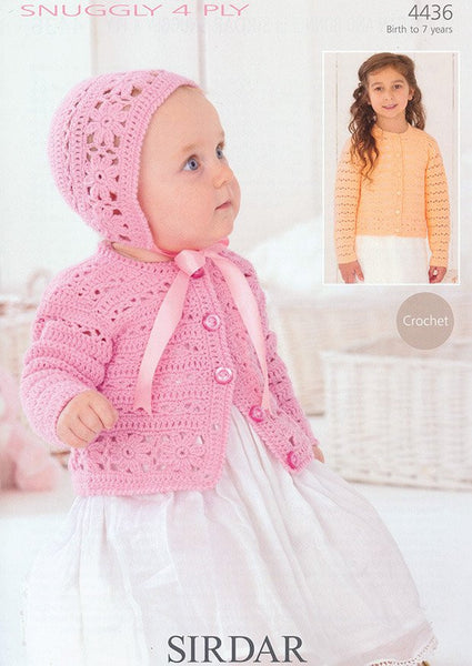Cardigan and Bonnet in Sirdar Snuggle 4 Ply (4436)-Deramores