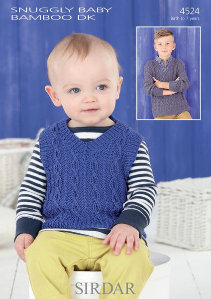 Boys V Neck Tank and Sweater in Sirdar Snuggly Baby Bamboo DK (4524)