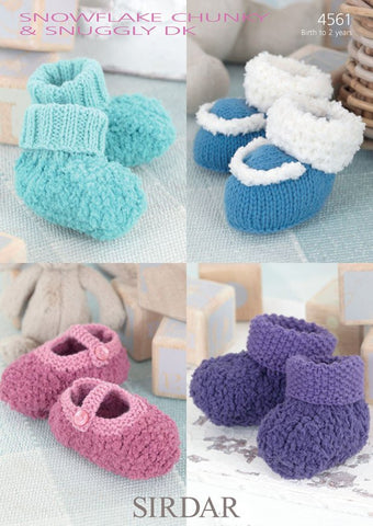 Babies Bootees in Sirdar Snowflake Chunky and Snuggly DK (4561)-Deramores