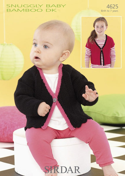 Girls Short and Long Sleeved Cardigans in Sirdar Snuggly Baby Bamboo DK (4625)-Deramores