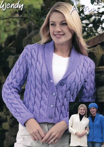 Cable Jackets and Hats in Wendy Aran with Wool (5202)-Deramores